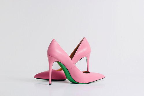 Pink Matte leather with leather  green sole