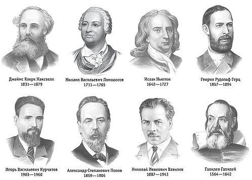 Комплект портретов великих физиков