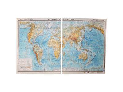 """Учебная карта """"Карта мира"""" (физич.) (матовое, 2-стороннее лам.)"""