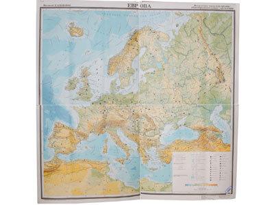 """Учебная карта """"Европа"""" (физическая) для средней школы (матовое, 2-стороннее лам."""