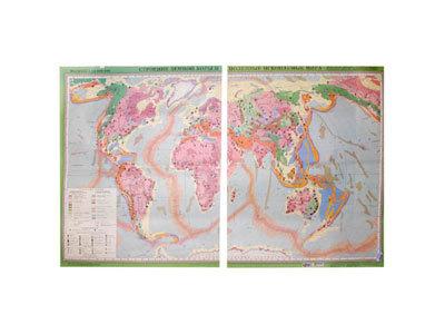 """Учебная карта """"Строение земной коры и полезные ископаемые мира"""""""