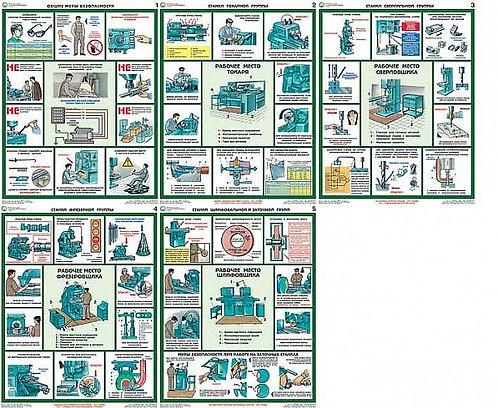 Плакаты Безопасность работ на металлообрабатывающих станках 5 шт. (465*610 мм) л