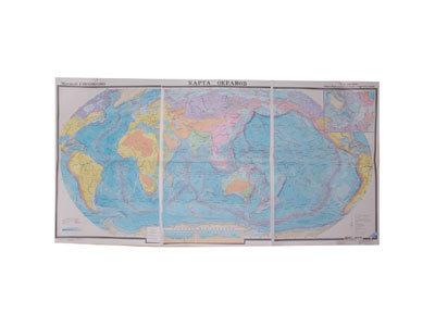 """Учебная карта """"Карта океанов"""" (матовое, 2-стороннее лам.)"""