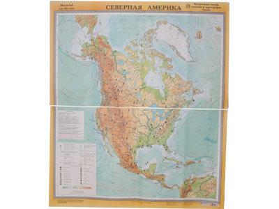 """Учебная карта """"Северная Америка"""" (физическая) (матовое, 2-стороннее лам.)"""