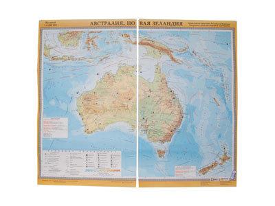 """Учебная карта """"Австралия и Новая Зеландия"""" (физическая)"""