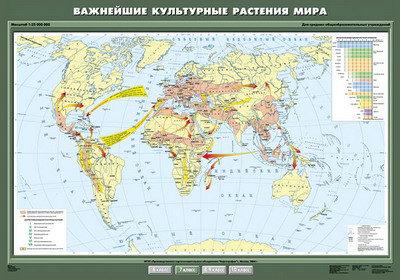 """Учебн. карта """"Важнейшие культурные растения мира"""" 100х140"""