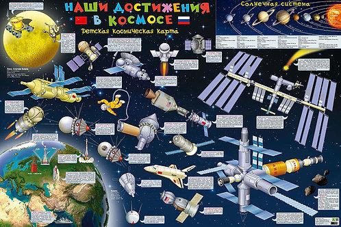 Карта детская «Наши достижения в космосе», настенная
