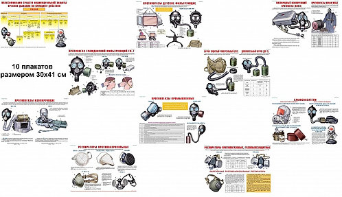 Плакаты Средства защиты органов дыхания (10 шт. 300*410) цветные