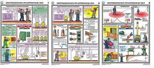 Плакаты Электробезопасность при напряжении до 1000В 3 шт. (465*610 мм) лам.