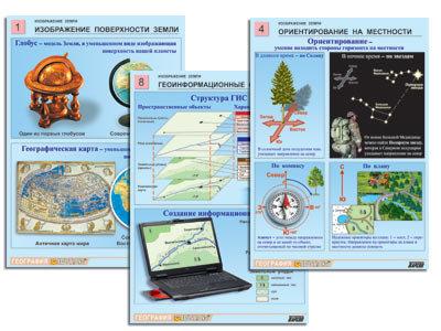 """Комплект таблиц по географии раздат. """"Изображение Земли"""" (цвет., лам., А4, 8 шт."""
