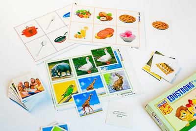 """Лото """"Иностранный язык"""" (3 игры, 6 планшетов, 36 карт., цвет., ламинир.)"""