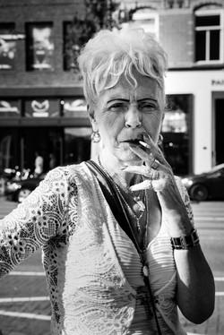 Woman with smoke