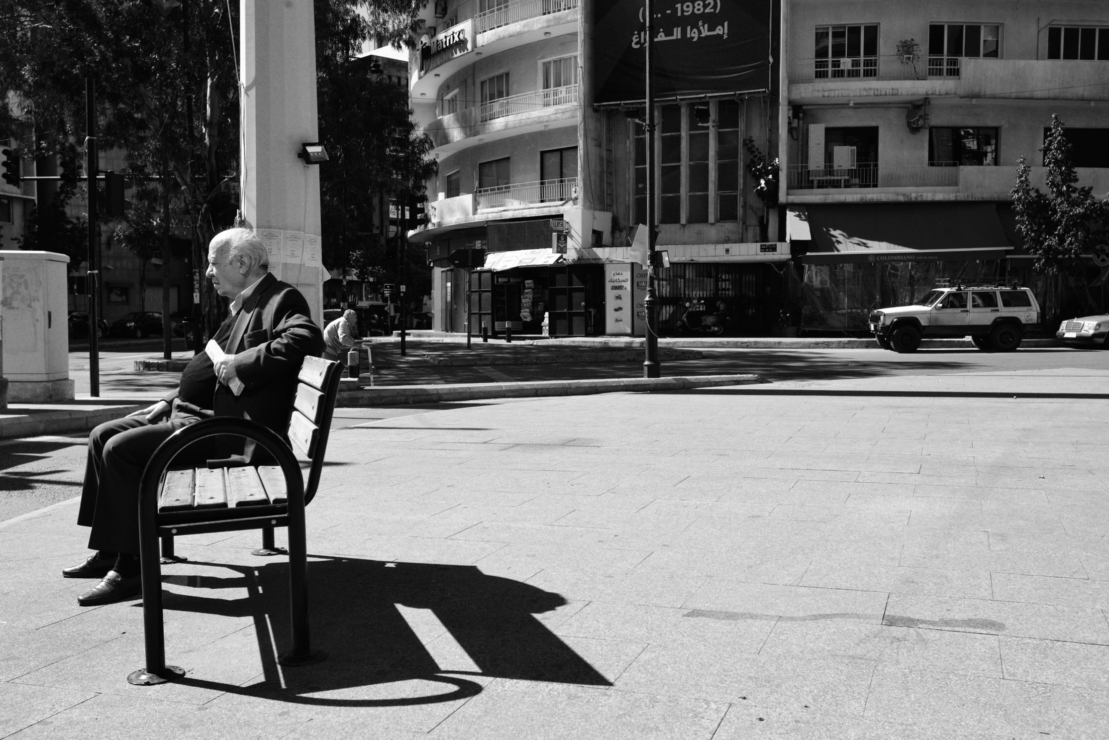 A man sits on Sassine square