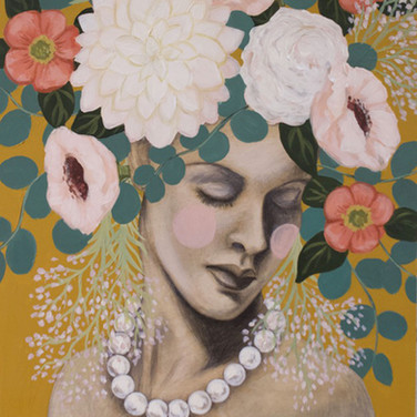 """Bouquet With Pearls 11""""x14"""" acrylic and graphite on deep cradled wood panel edged in ochre 2020  Available at PXP Contemporary"""
