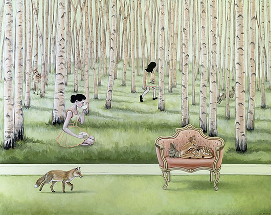 Polly And Poppy In The Pale Pink Woods Limited Edition Print