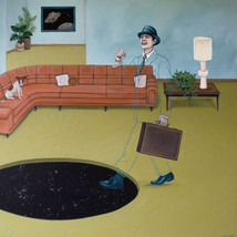 "It Wouldn't Be The Last Time George Forgot The Giant Space Hole In His Living Room 30""x40"" acrylic on deep cradled wood panel edged in the color of the carpet. The flower pattern on the carpet is slightly 3 dimensional. 2019 SOLD Prints available in my Print Shop at the link below"