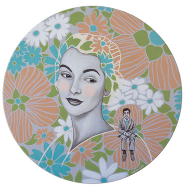 """She Couldn't Help Thinking He Was A Sad Little Man 16"""" acrylic on round wood panel 2019 Available at Coastal Contemporary Gallery at link below"""