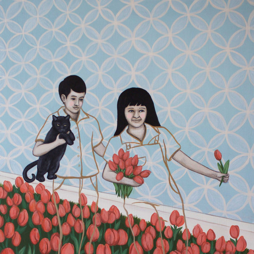 "Timmy And Tina Tiptoe Through The Tulips 18""x12"" acrylic on deep cradled wood panel edged in a continuation of the scene 2019 Available through Gallery 360 at link below"