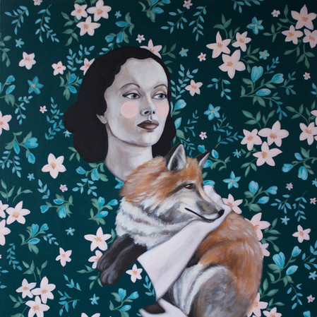 "Polly And The Fox 20""x16"" acrylic on deep cradled wood panel edged in the background pattern 2019 SOLD"