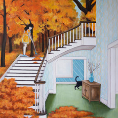 "Tina's Turn To Rake The Stairs 24""x20"" acrylic on deep cradled wood panel edged in a continuance of the scene 2019 SOLD"