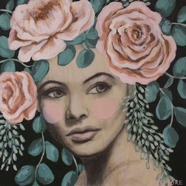 """Bouquet 8""""x8"""" acrylic and graphite on deep cradled wood panel edged in dark green 2020 Available at PXP Contemporary"""
