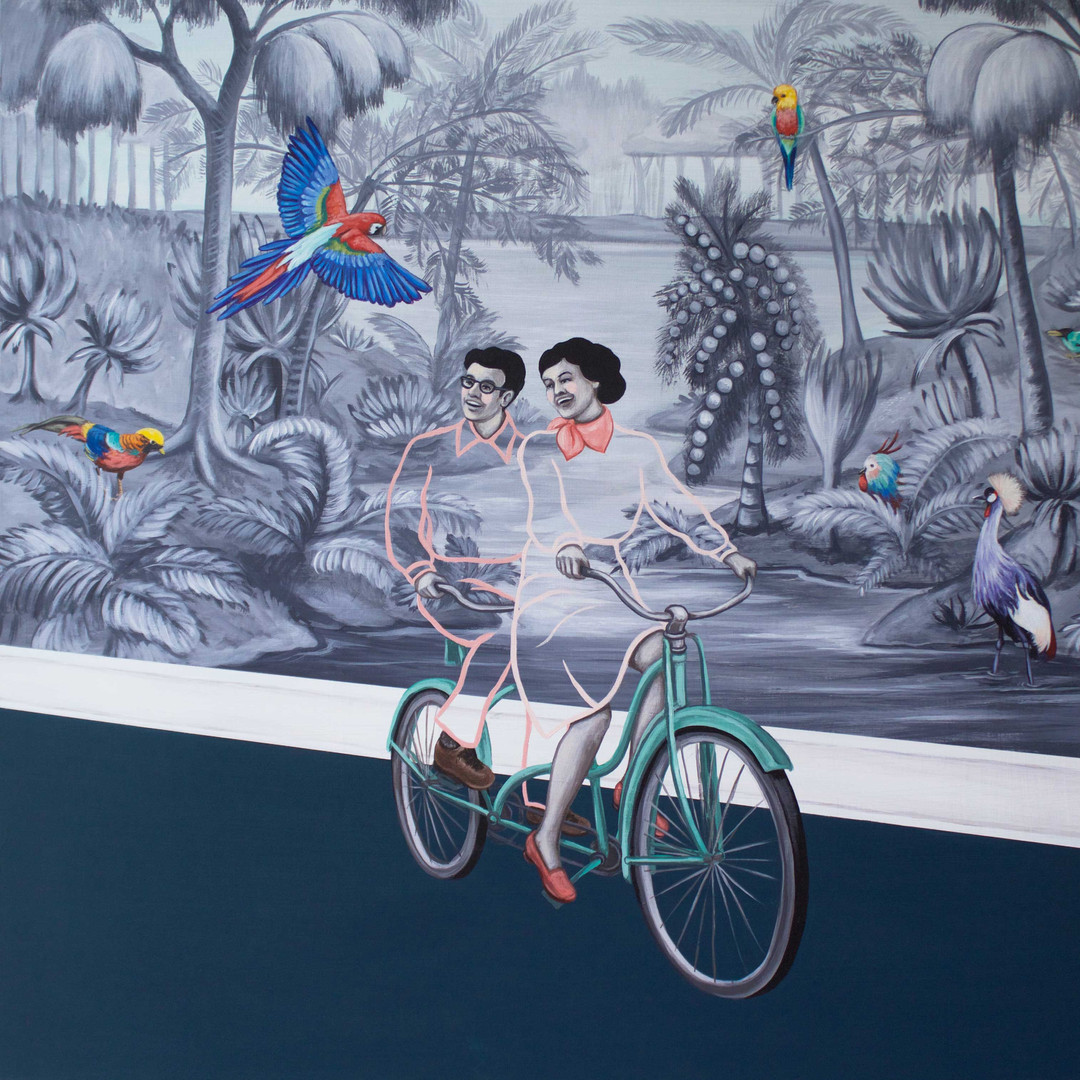 "It Was A Beautiful Day To Bicycle Through The Back Hall 20""x24"" acrylic on deep cradled wood panel edged in a continuation of the scene 2019 SOLD Limited Edition Prints available in my store at the link below"