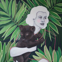 "Jane And Leroy 24""x18""acrylic on deep cradled wood panel edged in the background pattern 2019 Available at Rubine Red Gallery at link below"