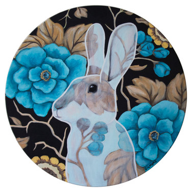 """Profile Of A See-Through Rabbit 12"""" acrylic on round wood panel 2019 Available at Coastal Contemporary Gallery at link below."""