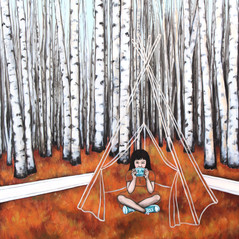 "Tea With Tina In A Teepee 18""x24""acrylic on deep cradled wood panel 2017 SOLD Limited Edition Prints available in my Art Store at the link below"
