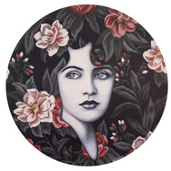 """Rosa 12"""" acrylic on round wood panel 2020 Available at Lizzards Gallery link below"""