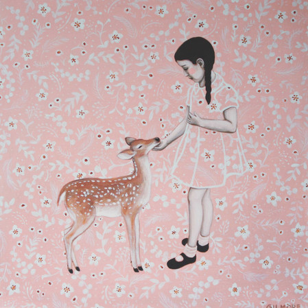 "Poppy And The Fawn 12""x12"" acrylic on deep cradled wood panel edged in the background pattern 2019 SOLD"
