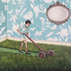 "Timmy's Turn To Mow The Living Room 18""x24"" acrylic on deep cradled wood panel 2017 SOLD Limited Edition Prints of this painting are available at the link below"