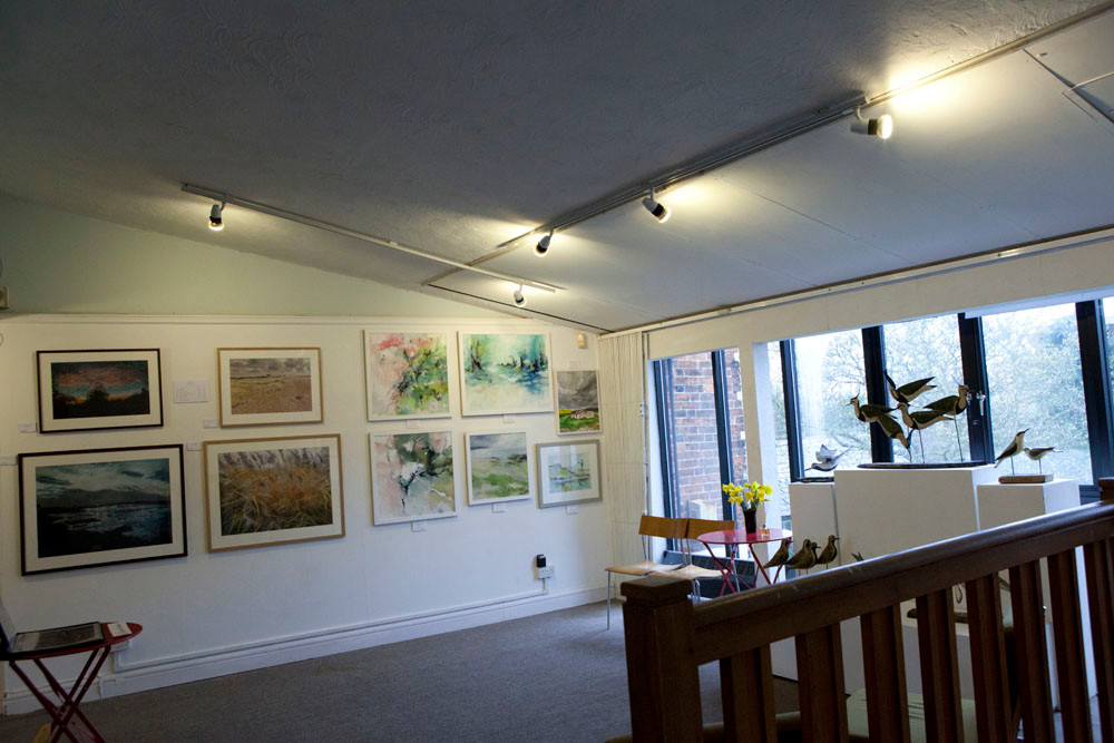 From right to left we had the wok of the established artists Alex Saunderson next to the bright paintings of Kirsten Askew
