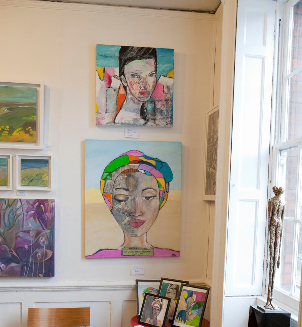 Paintings by the local artist Desiree Wales displayed at The Secret Art Fair 2019