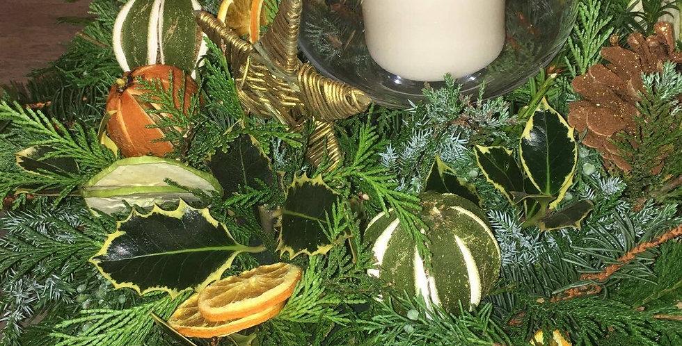 Fresh foliage Christmas table centre