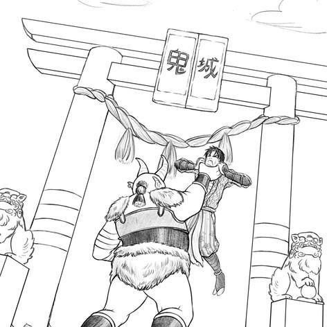 Oni Fighting Samurai