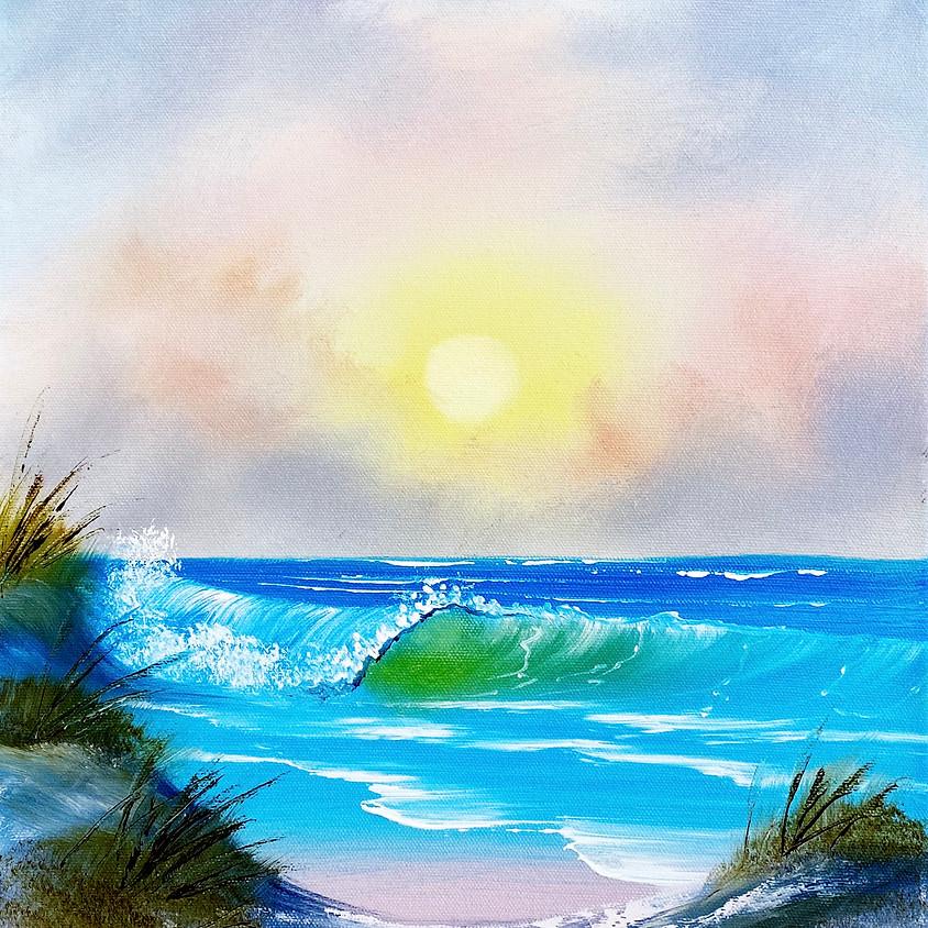 Bob Ross Style Painting Class: Pastel Seascape