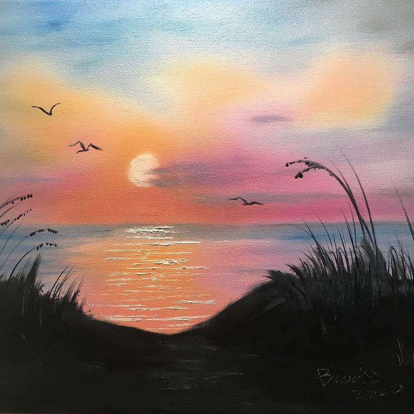 Bob Ross Painting Class  Ocean Sunrise