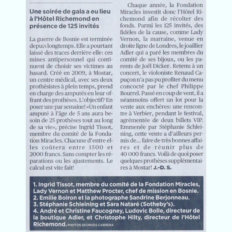 Tribune de Genève article