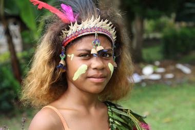Young female cermonial dancer, Kokopo, Papua New Guinea