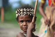 A beautiful child at a Sing Sing, traditional dance ceremony, Kokopo, Papua New Guinea