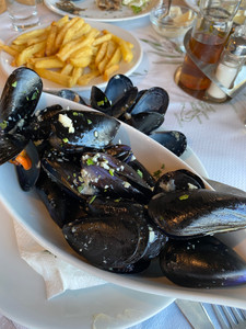 Mussels and chips - divine!