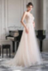 suknia ślubna róż, beż, 2020