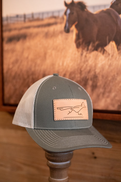 Olive Leather Patch Cap