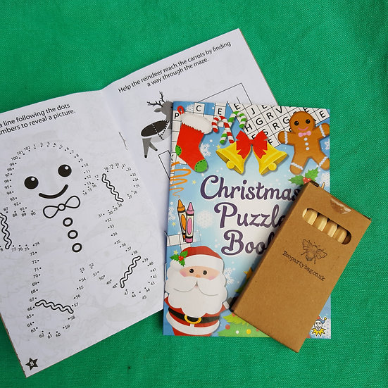 Christmas Colouring and puzzle book with colouring pencils