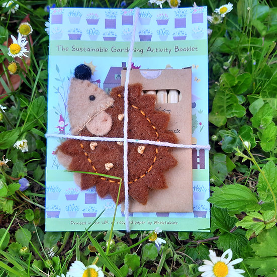Sustainable Activity book, Hedgehog Puppet and Pencils