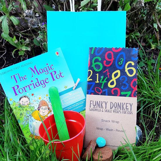 Beeswax Wrap, Book & Bamboo Pot  Eco Party Bag