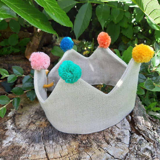 Fabric Crown - Play Crown With Pom Poms