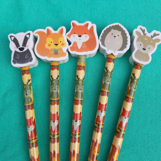 Woodland Animal Pencil With Rubber Topper