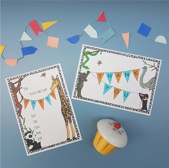 Party Invitations And Thank You Cards - Pack of 8